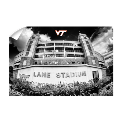 Virginia Tech Hokies - Lane Stadium Black & White - College Wall Art #Wall Decal