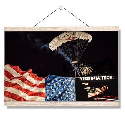 Virginia Tech Hokies - American Flag Entrance into Lane Stadium - College Wall Art #Hanging Canvas