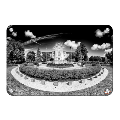 Virginia Tech Hokies - Burruss Hall B&W - College Wall Art #Metal