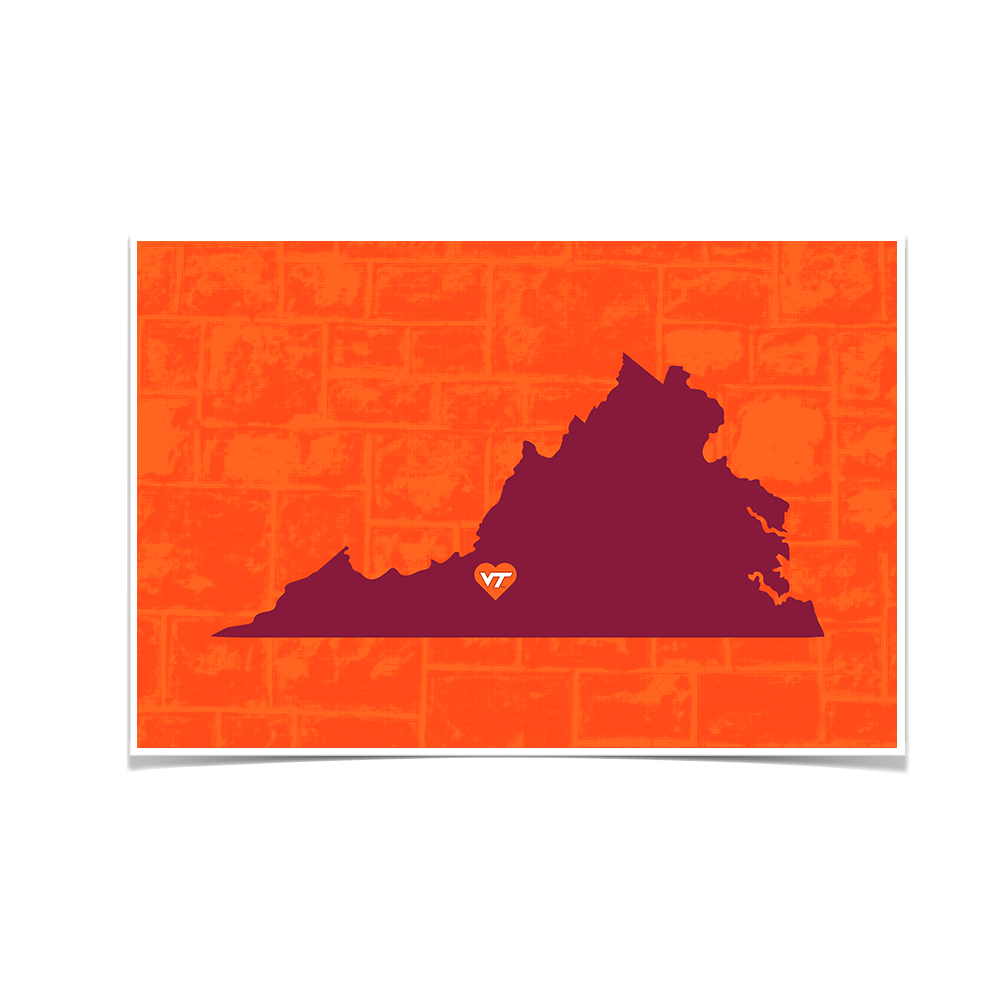 Virginia Tech Hokies - VT State Love - College Wall Art #Canvas