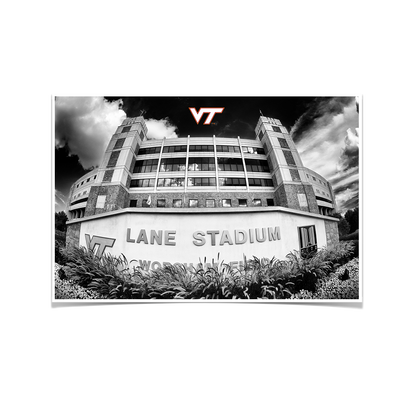 Virginia Tech Hokies - Lane Stadium Black & White - College Wall Art #Poster
