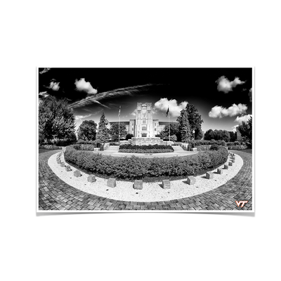 Virginia Tech Hokies - Burruss Hall B&W - College Wall Art #Poster
