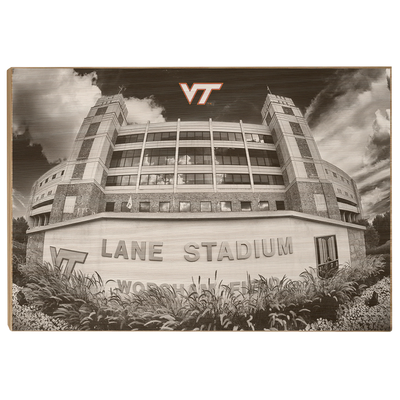 Virginia Tech Hokies - Lane Stadium Black & White - College Wall Art #Wood