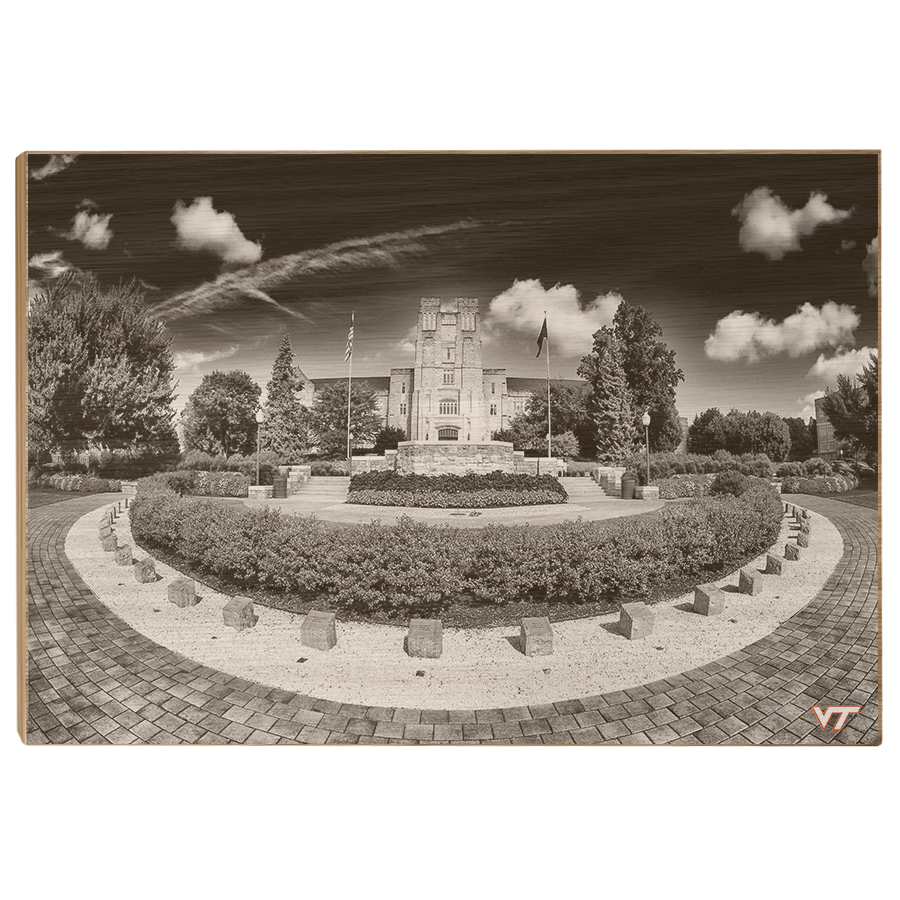 Virginia Tech Hokies - Burruss Hall B&W - College Wall Art #Canvas