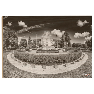 Virginia Tech Hokies - Burruss Hall B&W - College Wall Art #Wood
