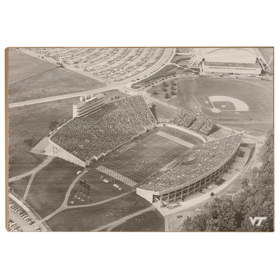 Virginia Tech Hokies - Vintage Aerial Lane Stadium - College Wall Art #Canvas