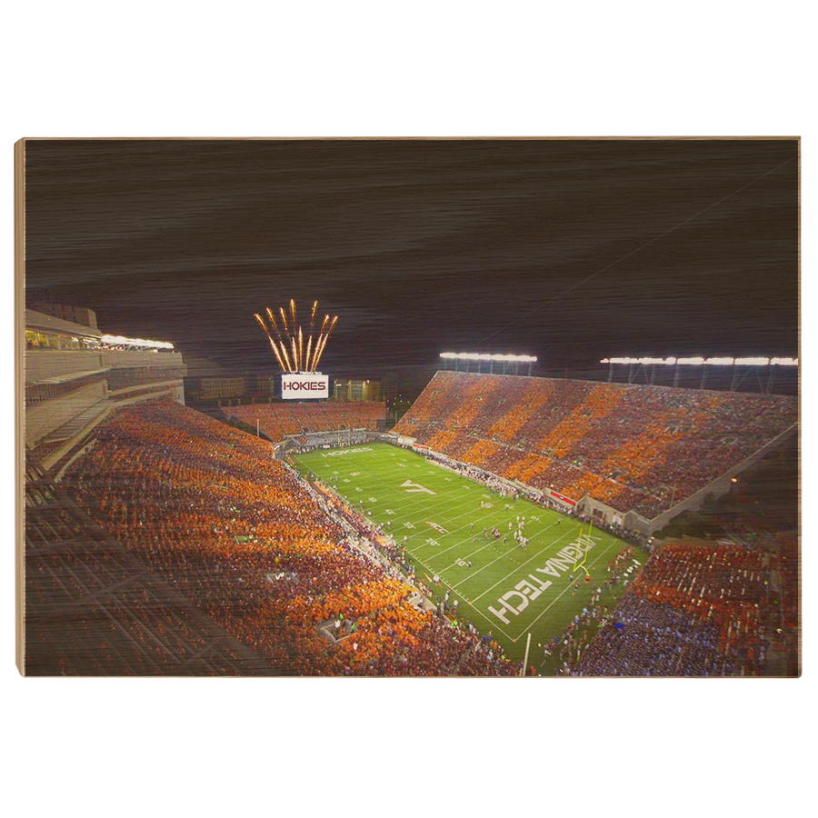 Virginia Tech Hokies - Aerial Striped Lane Stadium - College Wall Art #Canvas