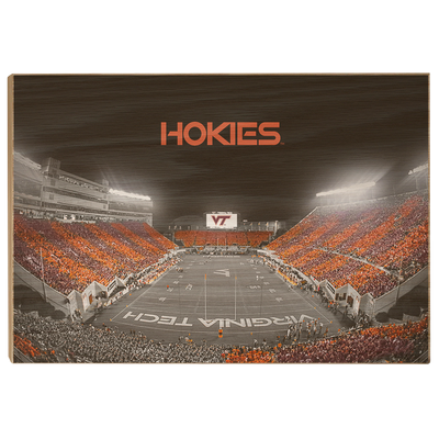 Virginia Tech Hokies - Hokie Striped End Zone - College Wall Art #Wood