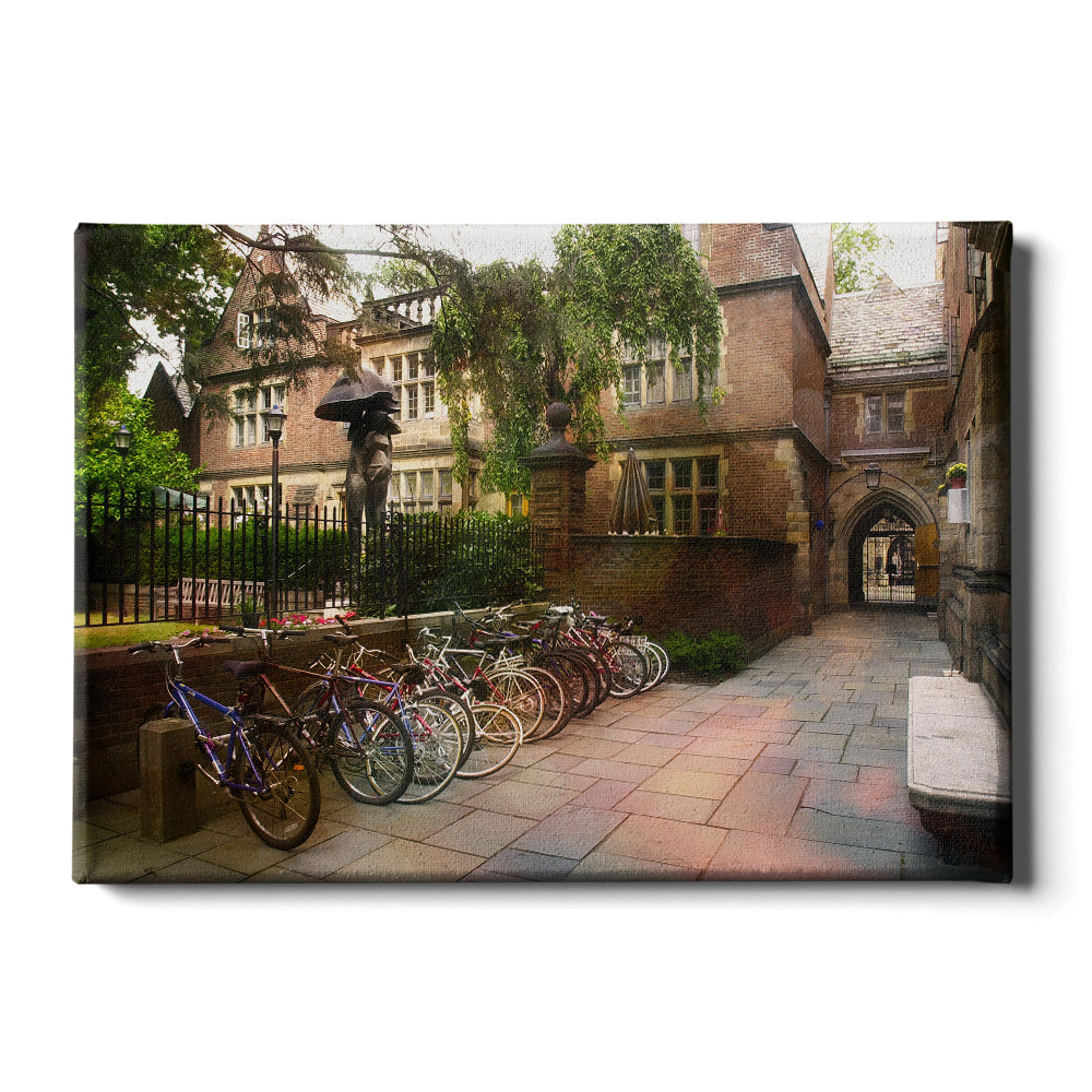 Yale Bulldogs - Bikes on Campus - College Wall Art #Canvas