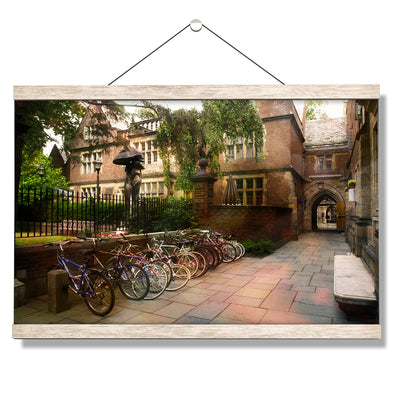 Yale Bulldogs - Bikes on Campus - College Wall Art #Hanging Canvas