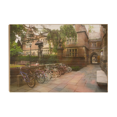 Yale Bulldogs - Bikes on Campus - College Wall Art #Wood