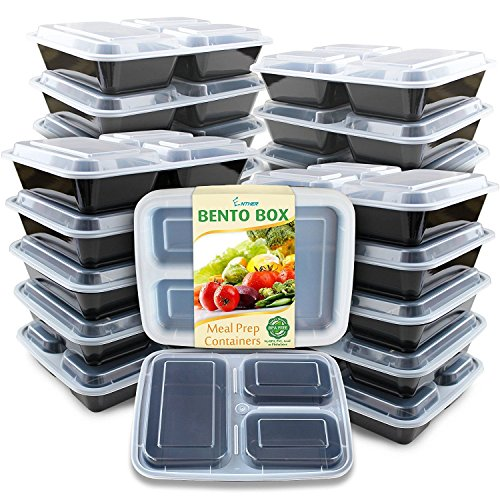 Enther Meal Prep Containers [20 Pack] 3 Compartment with Lids | BPA Free