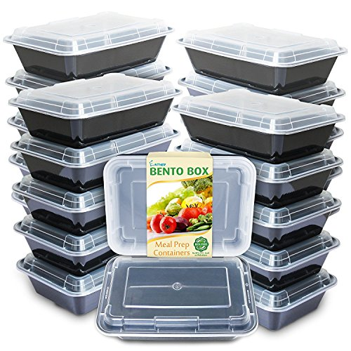 Enther Meal Prep Containers [20 Pack] Single 1 Compartment