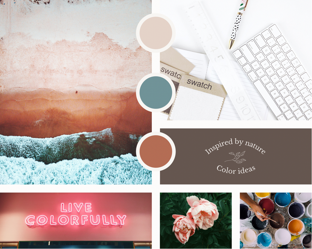 Color palette inspiration board for the work on a brand guide