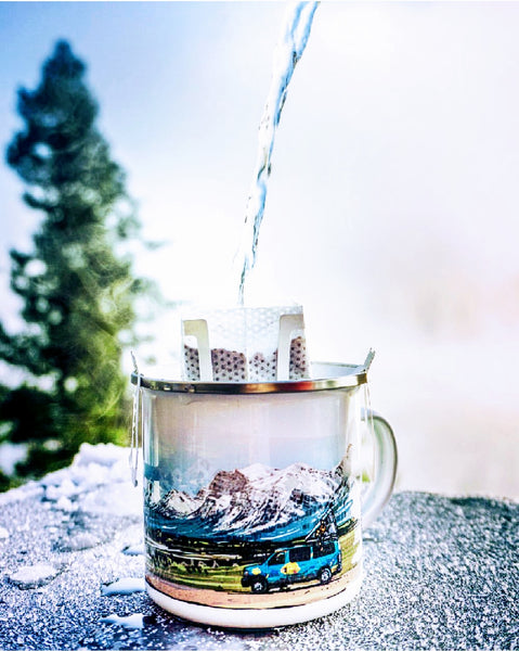 Sustainable and eco friendly coffee brewing in the enamel camp mug