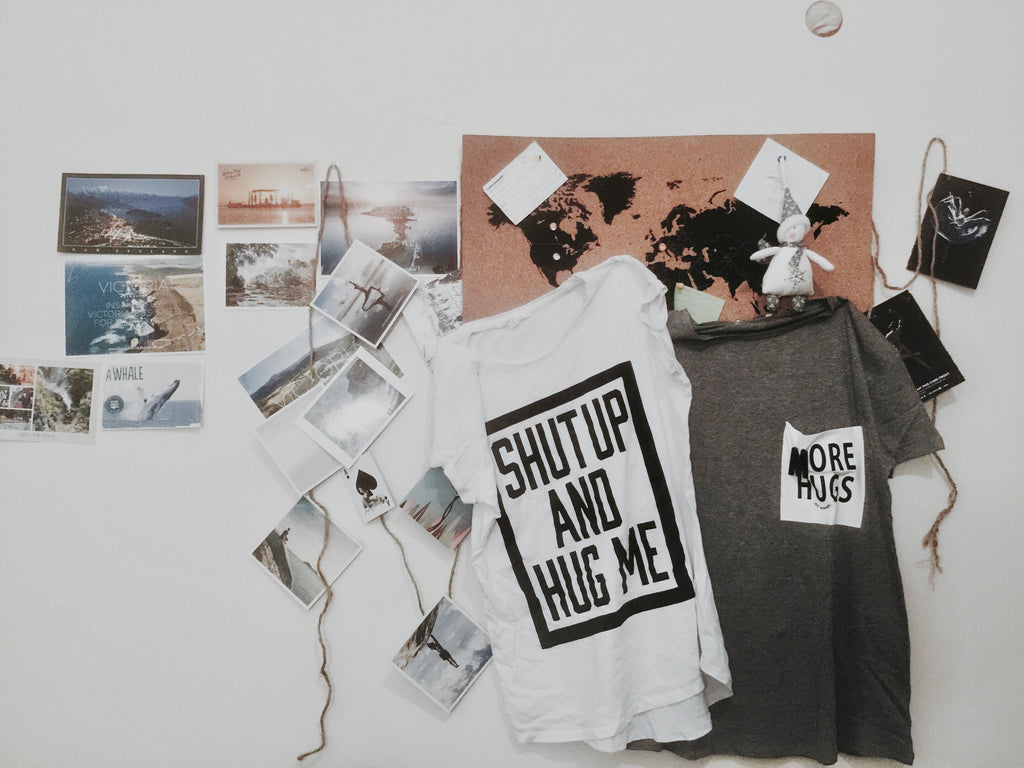 Photo mood board on the wall for the project organization