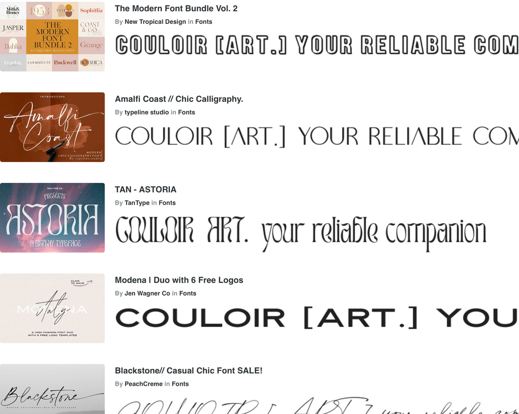 Font sample examples to use for branding and finding the perfect complementary fonts