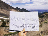 Sketching mountains with the great views of the first snow in Arizona