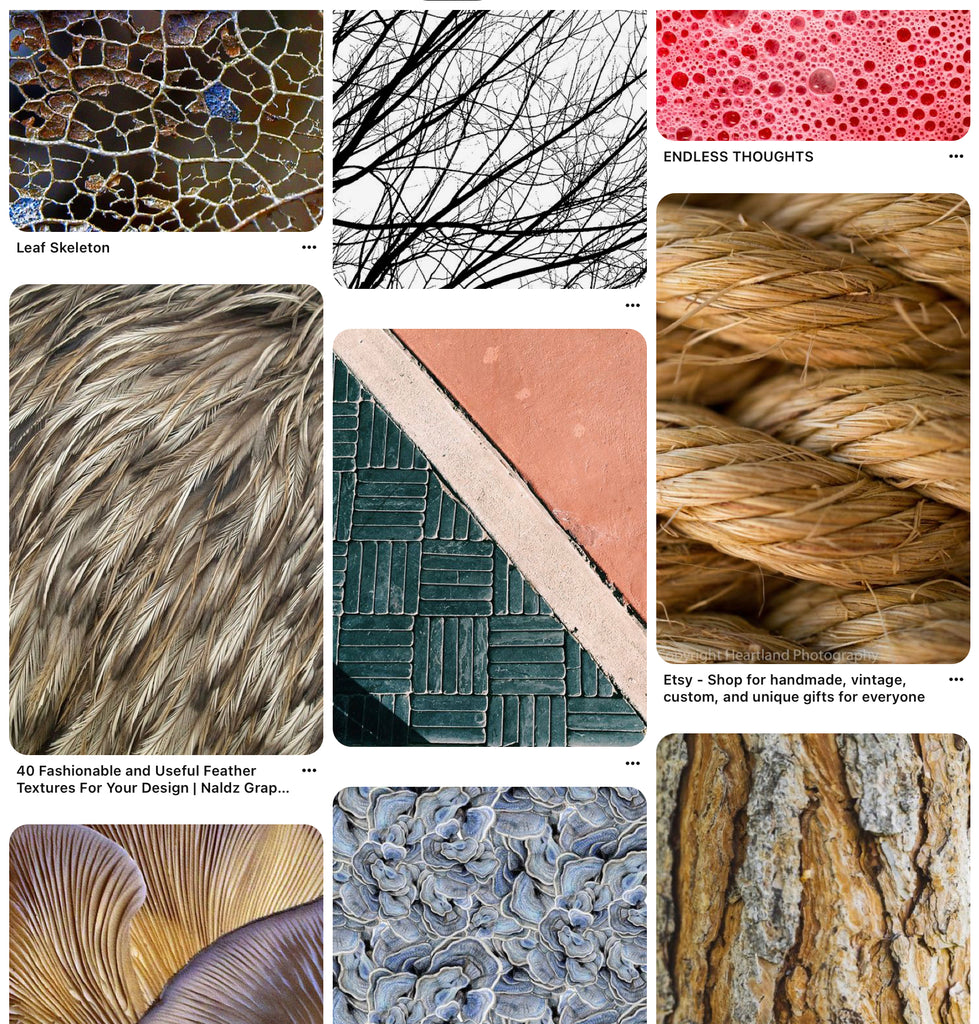 Pinterest sample screenshot of the textures inspiration and reference to use in the brand guide or mood board
