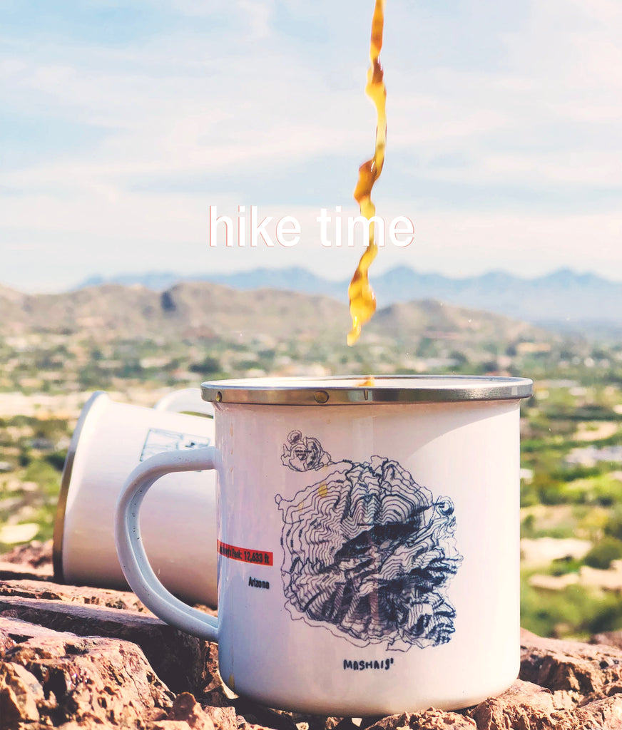 Dripping coffee in the Humphrey's Peak enamel camping coffee mug on top of the Camelback Mountain