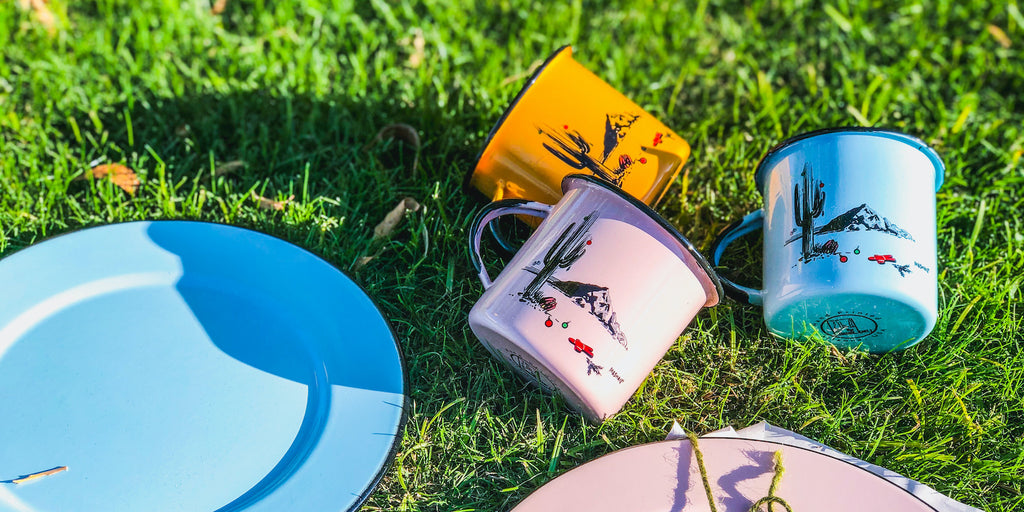 Camping dinnerware set reusable enamel locally produced in AZ and sustainable