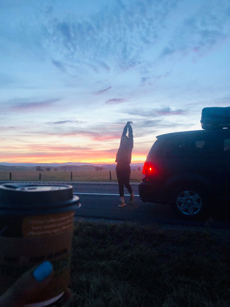 Coffee on the go-waking up at dawn-road trip