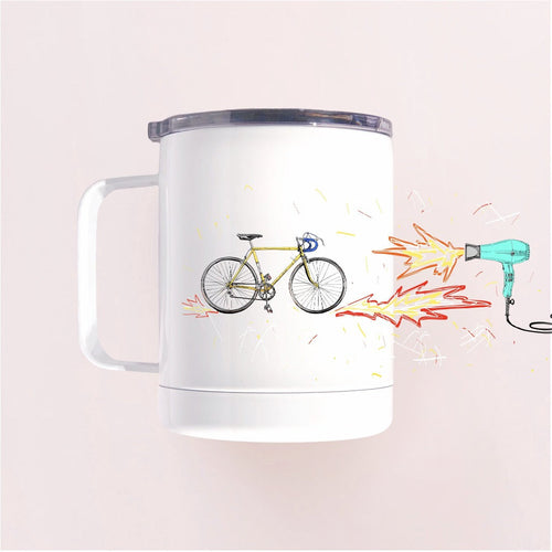 Couloir tumbler mug Desert Strada - white with a clear lid