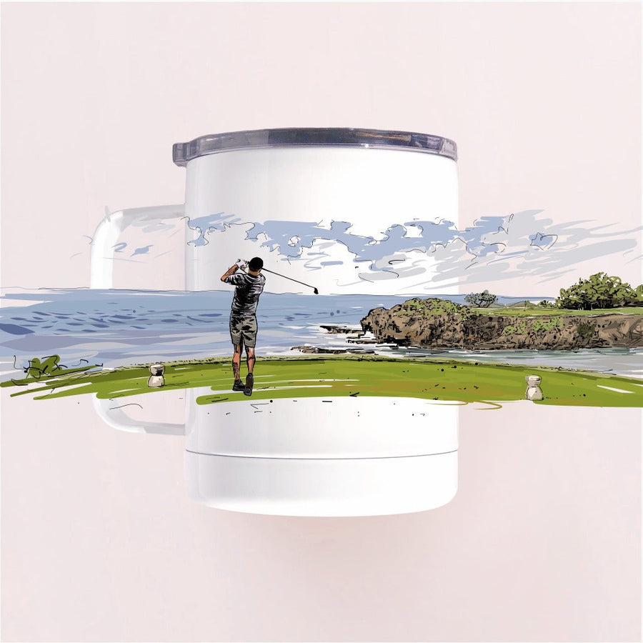 Coastal Golfer hitting of the tee with the ocean view tumbler camp mug