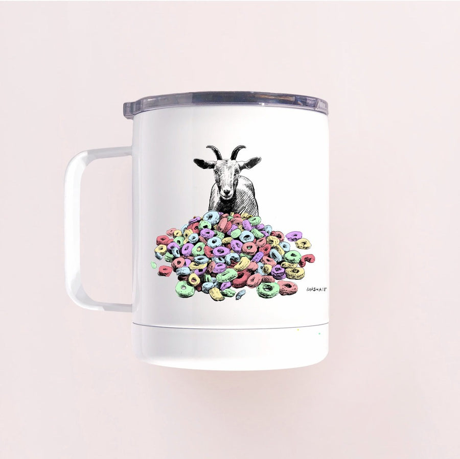 Goats and Cheerios enamel camp mug hand-printed in Arizona best for camping and travel adventures or just a cereal breakfast tumbler mug
