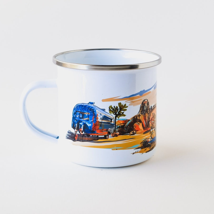 Joshua Tree inspired camp mug hand printed in Arizona which makes a perfect camping lover gift