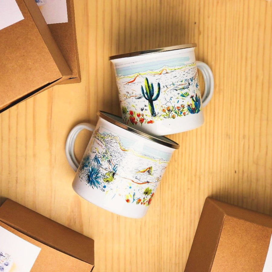 Two perfect gifts for nature lovers that feature enamel camping mugs with saguaro cactus and floral design
