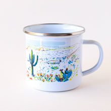 Load image into Gallery viewer, Arizona desert landscape inspired camp mug that features cactus and colors