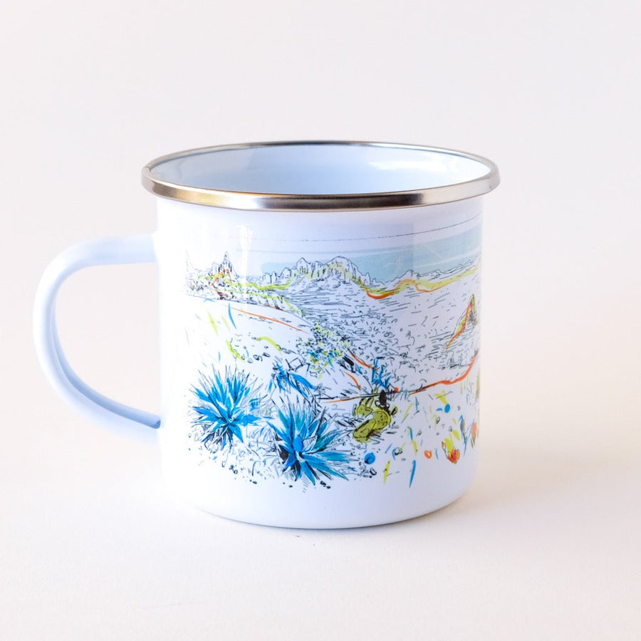 Arizona desert landscape inspired camp mug that features cactus and colors .