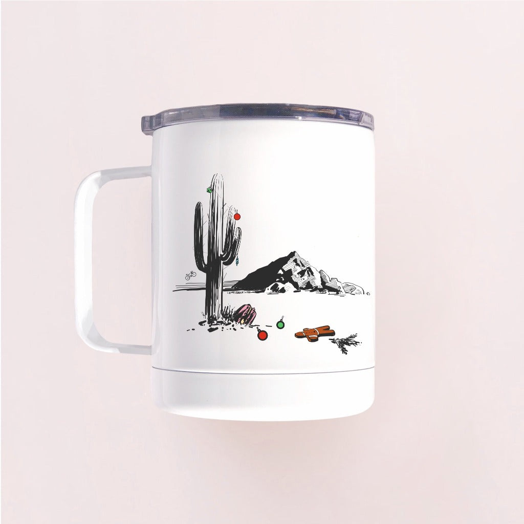 Charming white Christmas in Phoenix insulated tumbler mug with lid that works great both at home and in the winter cabin will keep your hot drink hotter longer than Hydroflask or Yeti tumblers (tested and proven)
