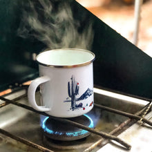 Load image into Gallery viewer, Couloir camp mug Christmas in Phoenix - white with stainless steel rim