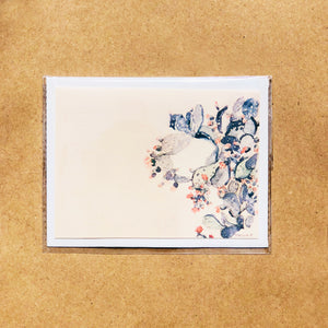 "Hand-made cards ""Cactus with flowers"" printed on eco-friendly watercolor paper"