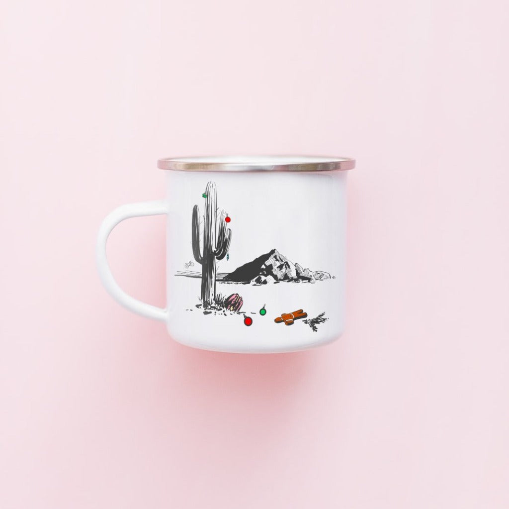 Stainless Steel-Camping Coffee Mug-showing the scenic Camelback Mountain in Scottsdale Arizona