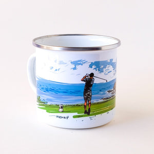Coastal Golfer hitting of the tee with the ocean view camp mug