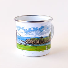 Load image into Gallery viewer, Coastal Golfer hitting of the tee with the ocean view camp mug