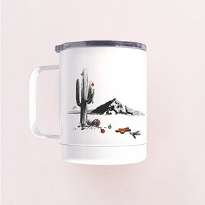 Insulated tumbler mug with a clear lid that features hand-printed design saguaro cactus decorated in ornaments and Camelback Mountain