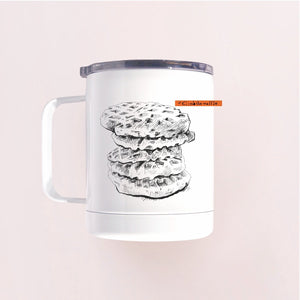 Hand printed in Arizona waffle design insulated tumbler mug with clear lid