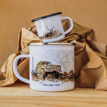 Load image into Gallery viewer, Father's Day special edition camp mug showcases classic Ford Bronco hand-printed in Arizona