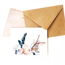 "Load image into Gallery viewer, Hand-made cards ""Ivory Flowers"" printed on eco-friendly watercolor paper"