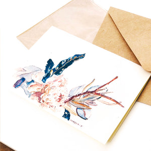 "Hand-made cards ""Ivory Flowers"" printed on eco-friendly watercolor paper"