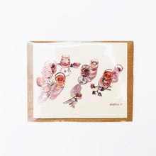 "Load image into Gallery viewer, Hand-made cards ""Retro glasses - Cheers!"" printed on eco-friendly watercolor paper"