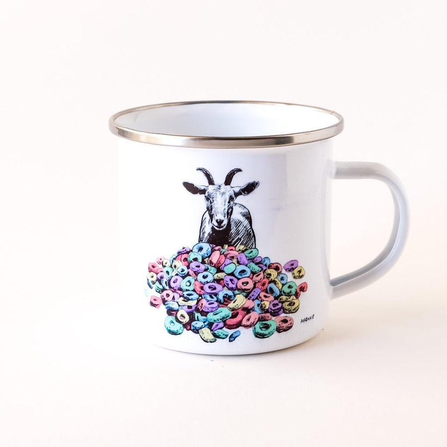 Goats and Cheerios enamel camp mug hand-printed in Arizona best for camping and travel adventures or just a cereal breakfast