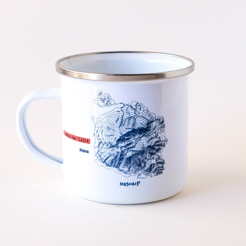 Topographical map of the Snow Bowl Mountain in Flagstaff Arizona camp mug