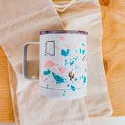Insulated tumbler yeti mug with a clear lid hand printed in Arizona features an iconic AZ symbols like saguaro cactus and mountains