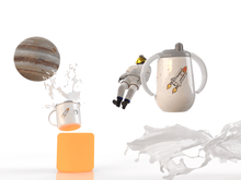 Load image into Gallery viewer, Insulated sippy cup for kids that features Space Shuttle and an astronaut a NASA team member hand-printed in Arizona