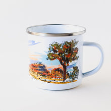 Load image into Gallery viewer, CAMP MUG HAND PRINTED SUSTAINABLY IN ARIZONA USA THAT PICTURES AIRSTREAM IN JOSHUA TREE NATIONAL PARK